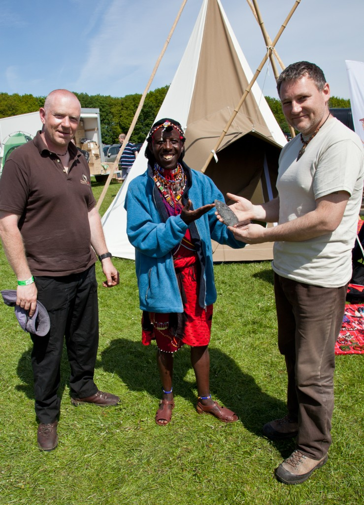 Presenting the dagger blade to the Maasai.