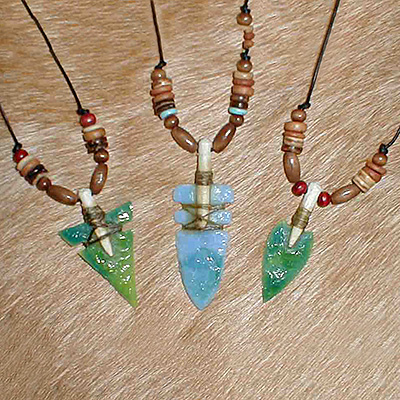 Stained glass arrowhead in shaft necklace