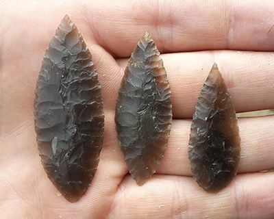 Neolithic leaf shaped flint arrowhead
